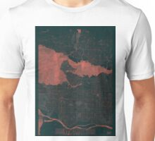 Vancouver Map Red Unisex T-Shirt