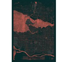 Vancouver Map Red Photographic Print