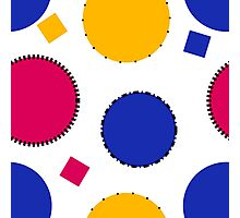 Blue, Yellow and Pink Polka Dots And Squares  Photographic Print