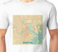 Boston Map Retro Unisex T-Shirt