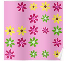 Pretty in Pink Floral Pattern Poster