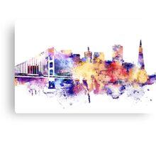 San Francisco, Golden Gate Bridge Watercolor , San Francisco Art Poster, City Skyline , San Francisco Cityscape Canvas Print