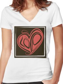 Love typography Women's Fitted V-Neck T-Shirt