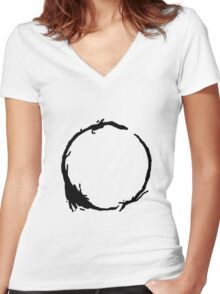 Arrival Movie Circle Language 4 Women's Fitted V-Neck T-Shirt