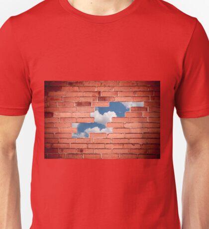 Red bricks broken wall Unisex T-Shirt
