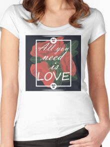 graphic print with flowers Women's Fitted Scoop T-Shirt