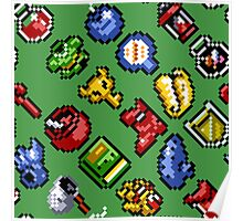 Legend of Zelda A Link to the Past / items 2 / pattern / green Poster