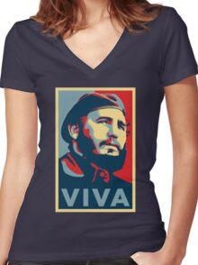 Viva Fidel Castro Women's Fitted V-Neck T-Shirt
