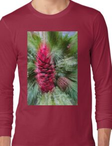 Abstract Christmas - Pine Cones and Needles Burst Long Sleeve T-Shirt