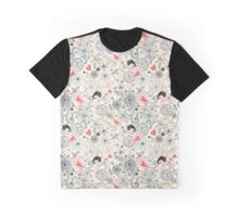 floral pattern with hearts and the elephants  Graphic T-Shirt