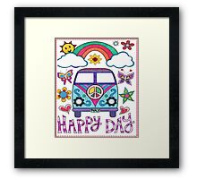Peace Bus - Happy Day Graphic T-Shirt & Gear Framed Print