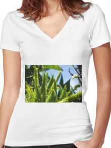 Fluffy Plants - Nature Photography Women's Fitted V-Neck T-Shirt