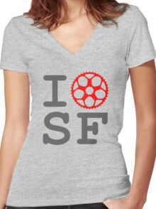 I Bike SF - San Francisco Bicyclist Women's Fitted V-Neck T-Shirt