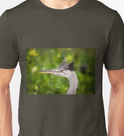 grey heron head portrait  Unisex T-Shirt