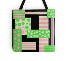 Green and pink collage Tote Bag