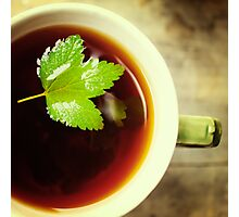 Herbal tea close up with green leaf Photographic Print