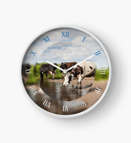 Herd of cows walking in the puddle Clock