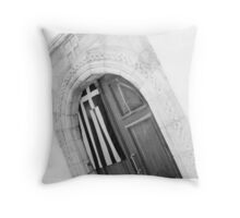 Doorway of Greece Throw Pillow