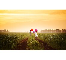 Young wedding couple running on the sunset field Photographic Print