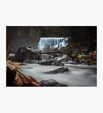 End of Fall waterfall photograph Photographic Print