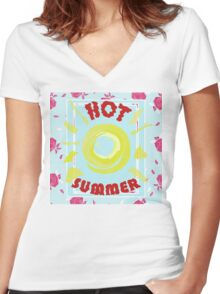 Summer graphic print Women's Fitted V-Neck T-Shirt