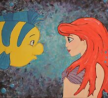 Ariel and Flounder Painting by lizardbreathw