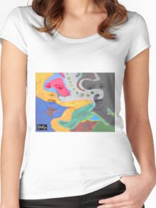 3 layer paint Women's Fitted Scoop T-Shirt
