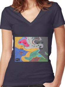 3 layer paint Women's Fitted V-Neck T-Shirt