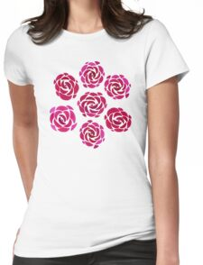 Pink Rose Flower Pattern Womens Fitted T-Shirt
