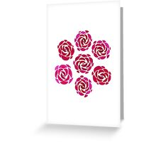 Pink Rose Flower Pattern Greeting Card