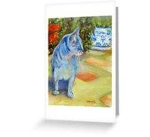 Le Chat Bleu (The Blue Cat) by Chris Brandley Greeting Card