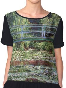 Claude Monet The Japanese Footbridge and the Water Lily Pool Chiffon Top