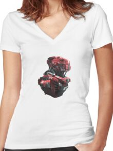Red Scout Women's Fitted V-Neck T-Shirt