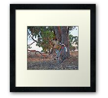 Been out riding..... gathering bunches of wheat. Framed Print
