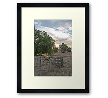 Ladies old vintage bike.... bunches wheat...wheat silos. Framed Print