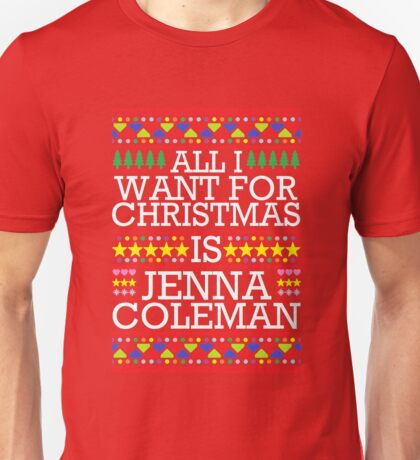 All I Want For Christmas is Jenna Coleman - Red Spangle Unisex T-Shirt