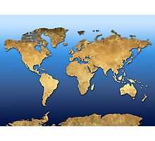 world map gold 2 Photographic Print