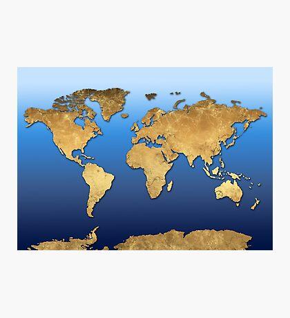 world map gold 2 Photographic Print