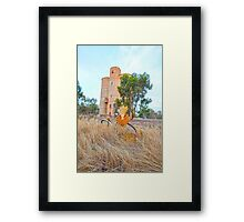 The Old Wheat Silos..... vintage bicycle Framed Print