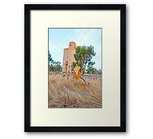 Old Grain Silo & Vintage Bike. Framed Print