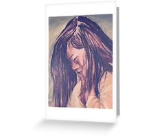 Little Girl Timeout Chalk Pastel Portrait Greeting Card