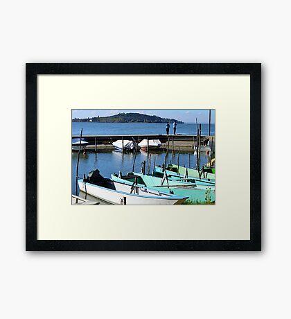 Boats beside Lake Trasimeno Framed Print