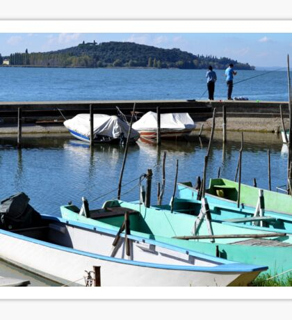 Boats beside Lake Trasimeno Sticker