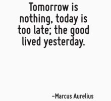 Tomorrow is nothing, today is too late; the good lived yesterday. by Quotr