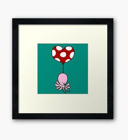 Heart Balloon Octopus Framed Print