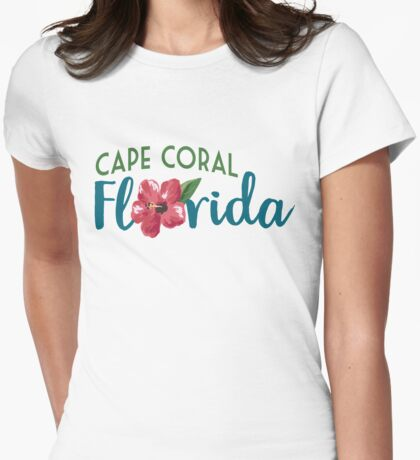 Cape Coral Florida T-shirt - Hibiscus Flower Womens Fitted T-Shirt