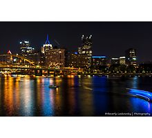 Pittsburgh and the River at Night Photographic Print