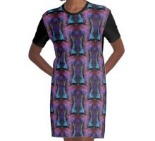 Iridescent Body Graphic T-Shirt Dress