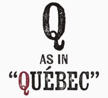 Quebec Canada T-shirt - Alphabet Letter One Piece - Short Sleeve