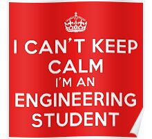 I CAN'T KEEP CALM I'M AN ENGINEERING STUDENT (WHITE LETTERS) Poster
